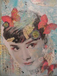 SONHO AZUL-Original Mixed Media Surreal Graffiti Pop Art Audrey Hepburn colagem dos meios mistos em 8x8 polegadas Canvas