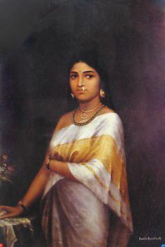Raja Ravi Varma, Kerala Royal Lady. Kerala Painting