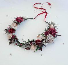 Beige burgundy flower crown greenery Bridal floral crown | Etsy Floral Wedding, Rustic Wedding, Wedding Flowers, Rustic Flowers, Dried Flowers, Flower Headpiece Wedding, Burgundy Flowers, Gypsophila, Floral Crown