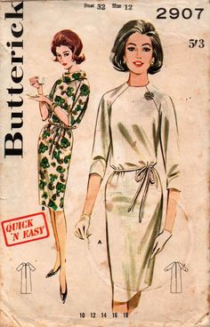 Butterick 2907 Womens EASY Raglan Sleeved Shift Dress 60s Vintage Sewing Pattern Size 12 Bust 32 inches