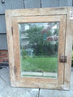 Antique-Solid-Wood-Medicine-Cabinet-Cupboard-w-Bevel-Mirror-Built-In-Salvage