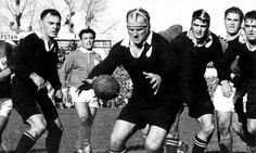 V France at Eden Park 1961. ABs l to r: Dennis Young, Wilson Whineray, Nev MacEwan and Ian Clarke.