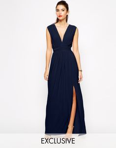 e032e897d2 Shop Love Plunge Neck Maxi Dress with Wrap Belt at ASOS.