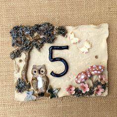 House number plaque, owl and tree design, door number, address plaque