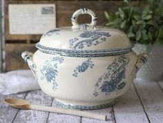 Large Antique French Ceramic Soup Tureen Faience by graceandivy.