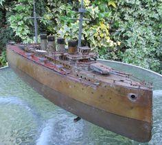 Bing 65cm clockwork battleship boat liner works c1910 Germany