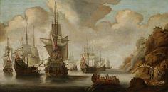A French Squadron near a Rocky Coast, Jacob Adriaensz. Bellevois, 1640 - 1676