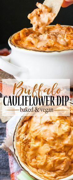 Baked Protein Packed Vegan Buffalo Cauliflower Dip I took a traditionally dairy filled party staple and turned it into a hot, creamy and mouthwatering vegan buffalo chicken dip! The most amazing remake ever! Vegan Apps, Vegan Foods, Vegan Dishes, Vegan Appetizers, Appetizer Recipes, Dip Recipes, Party Appetizers, Copycat Recipes, Vegan Desserts