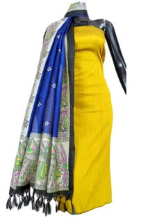 Silk Cotton Kurta and Blockprint Silk Dupatta-Mustard&Blue