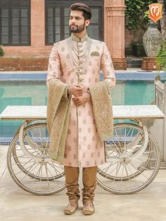 Traditional Indian jodhpuri sherwani collection online for wedding, sangeet and festive occasions. choose from latest designer shervani designs to buy sherwani online. Couple Wedding Dress, Wedding Outfits For Groom, Groom Wedding Dress, Wedding Suits, Wedding Attire, Wedding Men, Wedding Couples, Boho Wedding, Wedding Jewelry