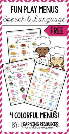 Play Menus for a dramatic play center in preschool, pre-k, kindergarten, and early childhood. Free printable by Learning Resources for Child Development.  #dramaticplay #playmenus #playkitchen #playrestaurant #preschool #prek #kindergarten #earlychildhood #freeprintable #freeactivity #learningresources