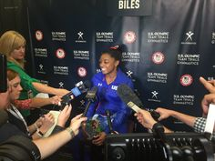 Simone Biles, 2016 U.S. Olympic Team Member talks to media after winning the trial event AA.