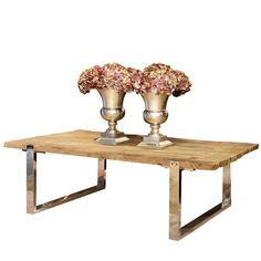 Maddox Reclaimed Elm Coffee Table Chrome Legs Oak Table Top, Oak Coffee Table, Rustic Coffee Tables, Wood Furniture, Living Room Furniture, Rustic Industrial, Modern Living, Chrome, Legs
