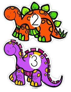 ***FREE*** This is a set of dinosaurs, numbered to use for early learners - preschool, pre-K and Kindergarten. Large pieces for little hands. Print pages on cardstock, laminate for longer use, c Dinosaur Classroom, Dinosaur Theme Preschool, Dinosaur Alphabet, Dinosaur Activities, Numbers Preschool, Preschool Themes, Preschool Printables, Preschool Science, Preschool Lessons