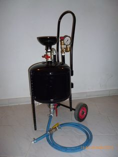 This is the Sandblaster I made using an old water heater tank (about 30Lt and wall mount type) the only modification need to the tank apart from the welding of the wheels , leg and handle  was a 4mm stee plate cutting with a cylindrical part with thread welded at the cencter for adding the sand as you can see on the photos ! The reason i made a sandblaster is because it cost me about 100 euros where as if i bought one i would have cost me about 400 euros !!! So buying one was not an ...