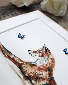 Sneaky peak at one of the mini releases at tonight 😍 Chloe Brown, Contemporary Artwork, Butterfly Art, Art Nature, Pet Portraits, Watercolour, Original Artwork, Fox, Mini