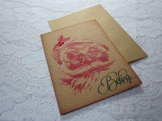 Handmade Christmas Greeting Card  Believe  Vintage by wkburden, $1.99