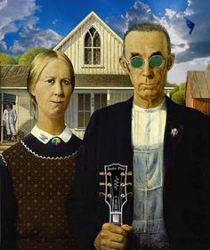 """""""American Gothic Hippies"""" by Unknown."""