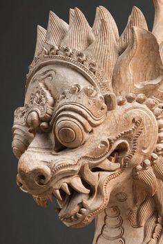 "virtual-artifacts: ""Garuda Lion Mythical Beast Bali, Indonesia Wood Early Century x x "" 66 x 51 x 66 centimeters A powerful yet aesthetic rendering of a garuda-lion, a classic animal. Arte Tribal, Tribal Art, Oriental, Dragons, Fu Dog, Indonesian Art, Art Antique, Thai Art, Arte Horror"