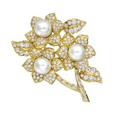 Estate Betteridge Collection 18k Gold, South Sea Pearl & Diamond Flower Brooch