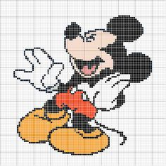 Pics Photos Punto Cruz Gratis Mickey Mouse And Post Patrones Mickey Mouse Blanket, Beading Patterns, Crochet Patterns, Disney Stich, Disney Cross Stitch Patterns, Stitch Cartoon, Cartoon Gifs, Beaded Animals, Mickey And Friends