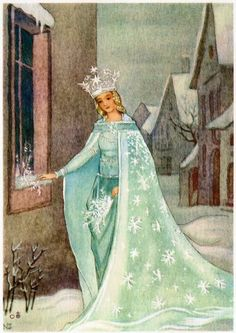 The Snow Queen by Hans Christian Anderson Illustration by Nora Scholly Snow Queen, Ice Queen, Maurice Careme, Snow Maiden, Queen Art, Fairytale Art, Winter Solstice, Children's Book Illustration, Book Illustrations