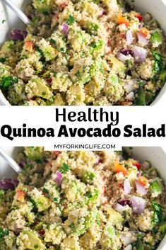 A quick and easy recipe loaded with fresh ingredients and topped with a creamy Greek yogurt dressing. A perfectly healthy recipe to make as a main or side dish. Easy Salad Recipes, Easy Salads, Lunch Recipes, Healthy Recipes, Easy Dinners, Quick Easy Meals, Quinoa Avocado Salad, New Recipes For Dinner, Side Dishes For Bbq