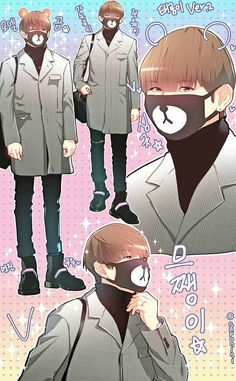 Only Tae could turn a teddy bear face mask into high fashion XD <<<too bad its not gucci Bts Taehyung, Bts Bangtan Boy, Bts Memes, K Pop, Cartoon Fan, Bear Face, Bts Drawings, Bts Chibi, Bts And Exo