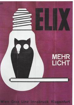 Original Vintage Poster Elix Austria Light Bulb Owl C1960 | eBay