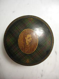 Rare Antique Tartan Ware Portrait Thread Box; Circa 1870