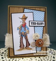 Cowboy Slim.Sells for 7.99 Sold separately are the words & other people. which are in my ebay store. Made by Art Impressions Rubber Stamps.You can purchase these from my ebay store: Pat's Rubber Stamps & Scrapbooks, Click on the picture here to see the listing , or call me 423-357-4334 with order, . We take PayPal. You get FREE SHIPPING ON PHONE ORDERS of $30.00 or more. Use my search engine to find all items you are interested in