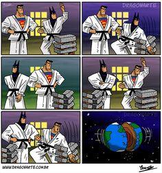 Batman et Superman font du karaté  #dcomics #batman #batou