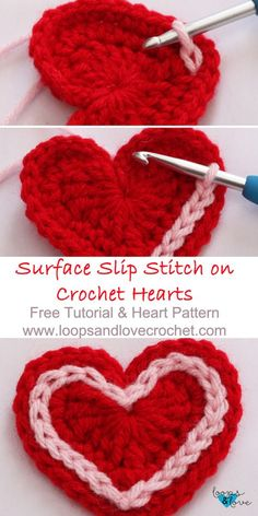 Easy Crochet Hearts Loops & Love Crochet This free crochet heart pattern includes a step-by-step tutorial for surface slip stitching around hearts, as well as a tutorial for making the hearts too! Crochet Simple, Love Crochet, Crochet Gifts, Crochet For Kids, Crochet Flowers, Crochet Hearts, Crochet 101, Double Crochet, Free Heart Crochet Pattern