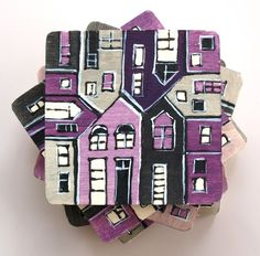 Wood tile coasters from Germany hand painted lilac grey by archcessoires on Etsy, $30.00