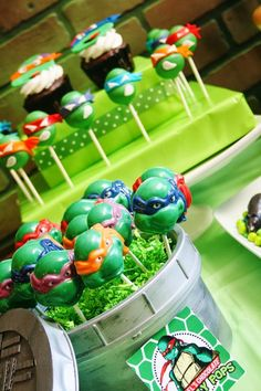 Teenage Mutant Ninja Turtles Party with Lots of Really Cool Ideas Turtle Birthday Parties, Ninja Turtle Birthday, Ninja Turtle Party, Birthday Ideas, 7th Birthday, Baby Turtles, Ninja Turtles, Turtle Baby, Shimmer Y Shine