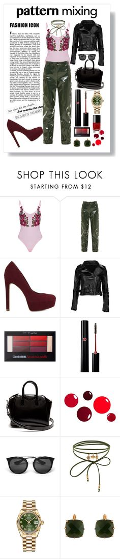 """""""pattern mix"""" by anabelisstyle ❤ liked on Polyvore featuring Carven, ALDO, Maybelline, Giorgio Armani, Givenchy, Prada, Accessorize, Rolex, Les Néréides and Chanel"""