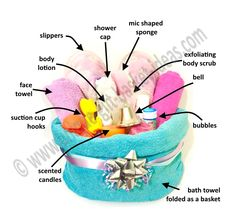 Cool ideas for bath spa gift baskets for people who love to take long showers/ b. Cool ideas for bath spa gift baskets for people who love to take long showers/ baths. Baby Bath Gift, Bath Gift Basket, Spa Basket, Basket Ideas, Mommy Gift Basket, Homemade Gift Baskets, Diy Gift Baskets, Homemade Gifts, Diy Spa