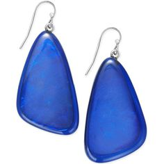 Inc International Concepts Silver-Tone Large Blue Stone Drop Earrings, ($20) ❤ liked on Polyvore featuring jewelry, earrings, blue, stone earrings, blue stone jewellery, blue jewelry, silvertone jewelry and blue earrings