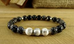 Black and White Bracelet Stone Jewelry Larvikite Bracelet Boyfriend Gift For Men Bead Bracelet Howlite Jewelry Mens Beaded Bracelet Howlite by StreamEnergy on Etsy https://www.etsy.com/listing/274475486/black-and-white-bracelet-stone-jewelry