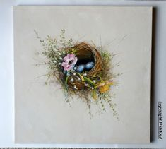 Bird Nest painting LARGE ooak still life art flowers by 4WitsEnd via Etsy