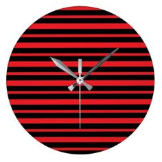 Thick and Thin Red and Black Stripes Large Clock - stripes gifts cyo unique style