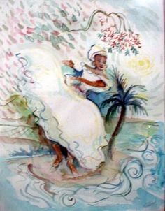 Again typical creole dress of Puerto Rico. This is from my painting entitled Baillando con Georges...( dancing with (Hurricane) Georges).