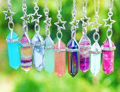I want alll of them Kawaii Jewelry, Cute Jewelry, Boho Jewelry, Jewelry Accessories, Crystal Pendant, Crystal Jewelry, Crystal Necklace, Best Friend Necklaces, Wire Wrapping Crystals