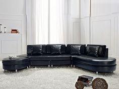 Sofa en cuir de Beliani® - Fauteuil noble en cuir véritable, noir -  Model COPENHAGEN