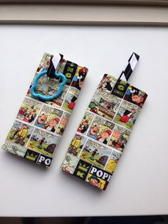 Comic strip strap covers. Say that three times fast.