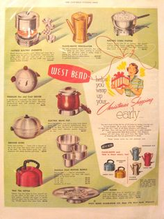 What's so cool about this ad? EVERYTHING! It's an original West Bend ad from the 50's, what's not cool about it? Look at the colors, the images, the happy house wife, AND the PENGUIN HOT & COLD SERVER! (another pin on my Vintage Finds & Treasures board). Vintage ads are easy to find & a cheap way to decorate any vintage room. Finding an ad with an item I own, such as the Penguin Server, is exciting because it provides history (more like a story) to a piece in my collection of vintage…