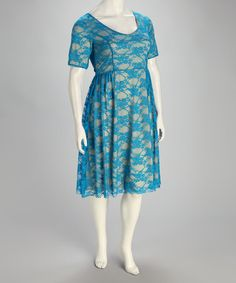 Take a look at this Blue Kara Lace Plus-Size Dress by S.W.A.K. on #zulily today!