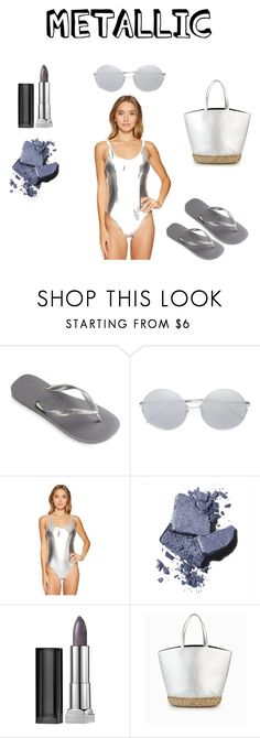 """""""Metallic Swimmer"""" by rrr5142007 ❤ liked on Polyvore featuring Havaianas, Linda Farrow, Dolce Vita, Bobbi Brown Cosmetics and Maybelline"""