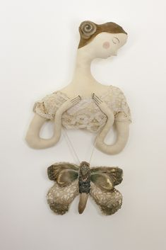 "textile art dolls and soft sculptures inspired by fairytales handmade by Pantovola ""The Moth Fairy"" #textileart #art #decor #doll #dreamy #figurative #moth #fabricmoth"
