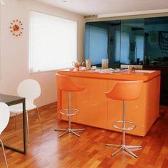 Modern kitchen with orange island | Kitchen ideas | Island unit | housetohome.co.uk
